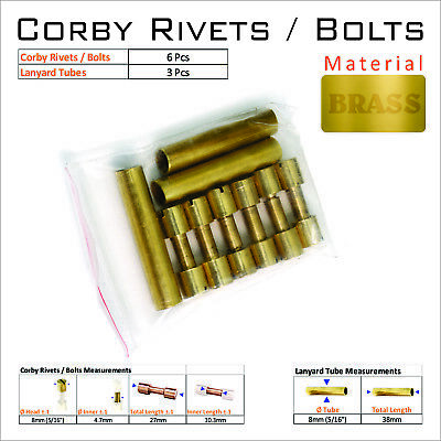 Knife Handle Hardware 6 Brass Corby Rivets 3 Lanyard Tubes Knife Making Supply