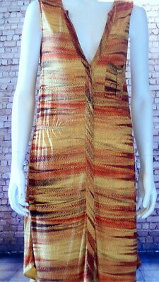 sleeveless dress sunset colours stripe red orange yellow popper front M