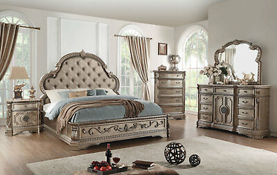 Marble Bedroom Set >> Traditional Look Champagne Finish 5pcs Marble Bedroom Set W King