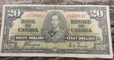 1937 Bank of Canada $20 Twenty Dollar Bill J/E 5509162 Coyne Towers Ungraded