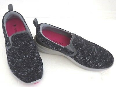 Vionic Size 9 Wide Black/gray Slip  On Casual Shoes W/removable Insoles Euc