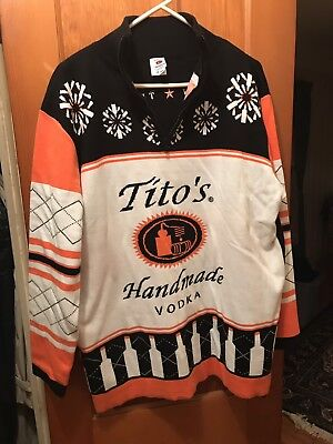 NEW Tito's Handmade Vodka Ugly Sweater zip up Holiday Size XL FREE USA SHIPPING