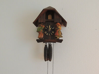 Beautifully Old Antique Wooden Carved German Cuckoo Clock