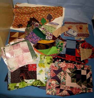 HUGE Lot Quilt Top Blocks & Fabric Material Sheer Silk Pink/9 Patch & More!