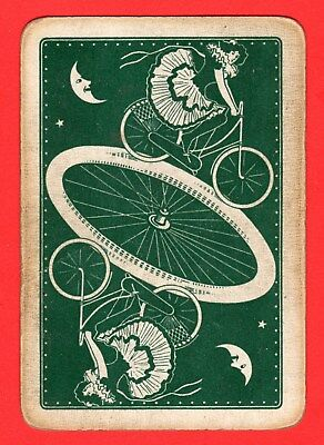 1 Single ANTIQUE Old Wide Playing/Swap Card PEOPLE GIRL BICYCLE TYRES MOON PE18