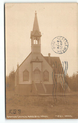 1908 Kirkland & Lebam WA Baptist Church Real Photo Postcard Washington Postmark