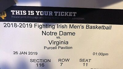 2 Tickets - Notre Dame vs. Virginia Men's Basketball