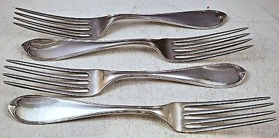 "FOUR Rare c1860 N. HARDING & Co. 190gr BOSTON COIN SILVER 7 1/2"" DINNER FORKS NR"