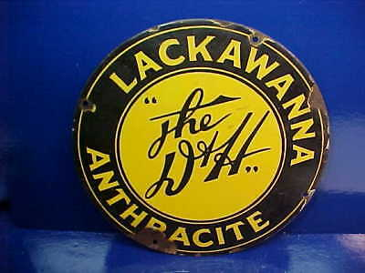 "1930s LACKAWANNA ANTHRACITE COAL The "" D + H"" Enamel PORCELAIN SIGN"