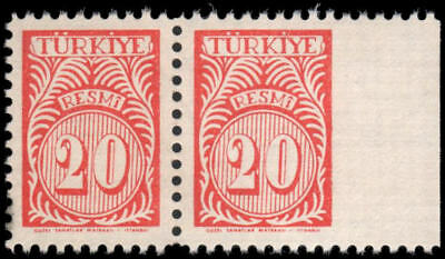 Turkey #O46 MNH pair, EFO: right stamp imperf at right