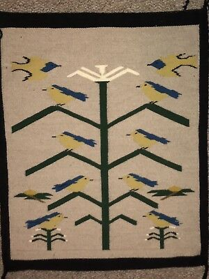"""Vintage 1930's Navajo Rug, Blue birds And Tree Of Life pattern. 32""""x25""""."""