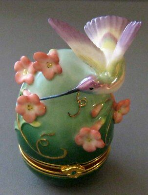 House Of Faberge Rivoli Hummingbird Floral Trinket Box