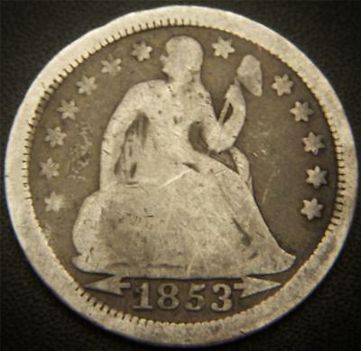 1853 Seated Liberty Dime - Full Rims, All Major Details Are Distinctly Outlined