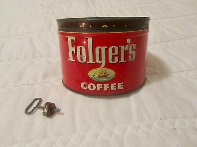 VTG Folger's Coffee Can w/ Lid & Opening Key 1952 Collectible Advertising Tin