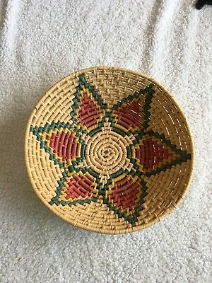"Southwestern Hand Woven Shallow Basket Navajo Native American 12"" New"