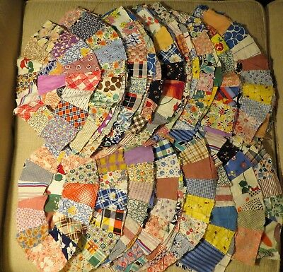 """Vintage wedding ring quilt pieces blocks lot 70 from1920s-30s Depression Era 14"""""""