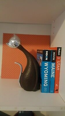 Vintage Mid- Century Modern Stone And Metal Single Cat Bookend