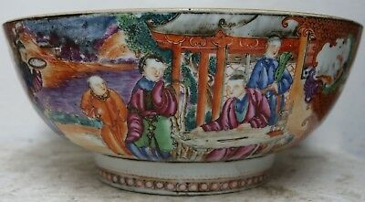 Very Beautiful Old Chinese Famille Rose Mandarin Punch Bowl - Very Rare - L@@k