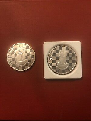Lot Of Two 1 Oz. Silver Coins Chess Motif