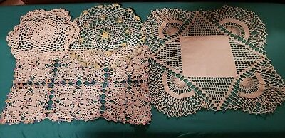 Mixed Lot of 4 Vintage Crocheted Doilies