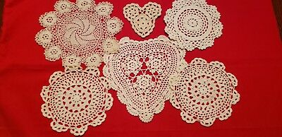 Lot of 6 Small Crocheted White & Ivory Doilies