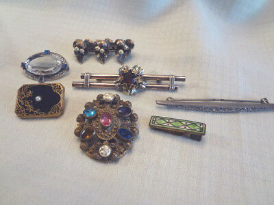 Fabulous Lot Of 7 Vintage Art Deco Brooches With Stones