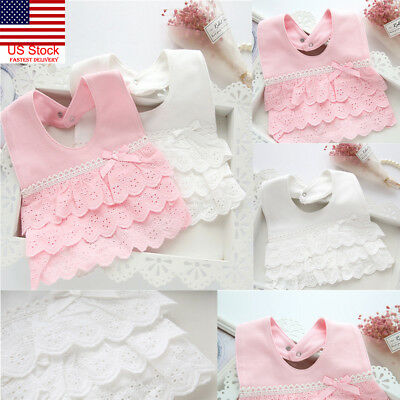 100% Cotton Baby Girl Bibs Princess Lace Cotton Bandana Bib Feeding Saliva Towel