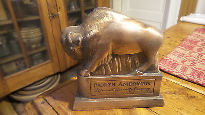 Vintage Advertising Figural Bank BUFFALO, Copper Finish,North American Ins. Co.