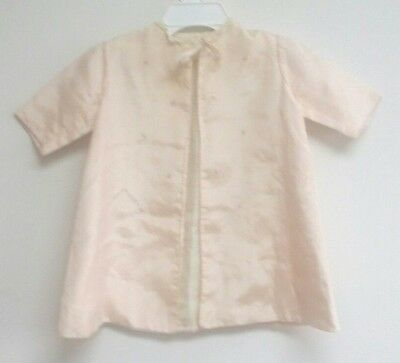 Vintage 1940-50's Toddler Girls Light Pink Long  Dress House Coat W Ting Flowers