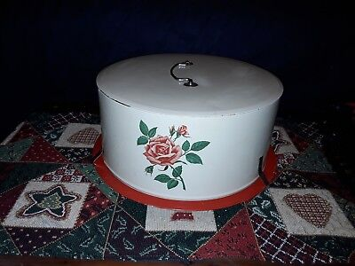 VINTAGE DECOWARE CAKE CARRIER RED ROSES, NICE CONDITION (Tin)