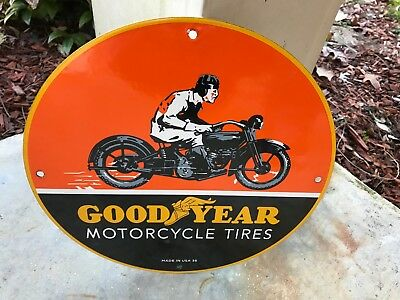 "Nice ""goodyear Motorcycle Tires"" Porcelain Sign, (Made In Usa-36)"