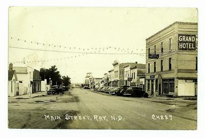 RAY, NORTH DAKOTA Vintage 1940's MAIN STREET Scene RPPC Williams Co. Cars, Bldgs