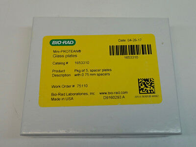 Bio-Rad Mini-PROTEAN 0.75mm Spacer Glass Plate, Box of 5, Cat. # 1653310; NEW