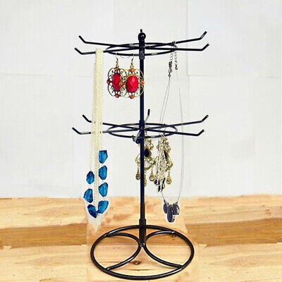 16 Hook 2-Tier Rotating Earring Bracelet Necklace Jewelry Display Stand Rack HOT