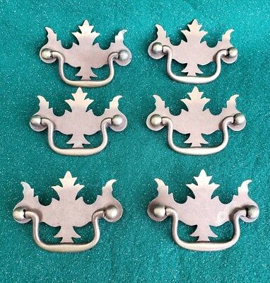"6 Matching Old Vintage Metal Drawer Pulls Handles 2 1/2""center To Center (N35)"
