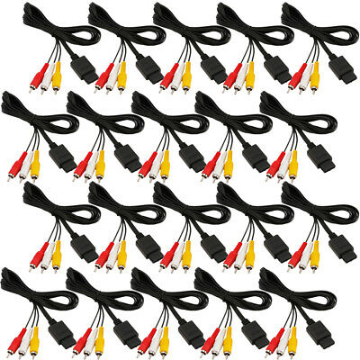 20PCS 6FT AV TV Composite Cable For Nintendo Gamecube SNES GC N64 Cord