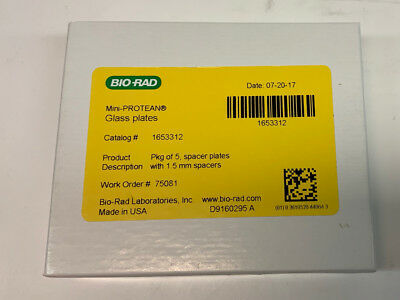 Bio-Rad Mini-PROTEAN 1.5mm Spacer Glass Plate Box of 5, Cat. # 1653312; NEW
