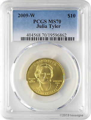 2009-W $10 Julia Tyler First Spouse Gold Coin PCGS MS70