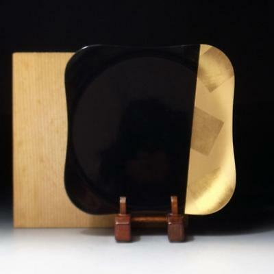 GF7: Vintage Japanese Lacquered Wooden Tea Plate, Black & Gold