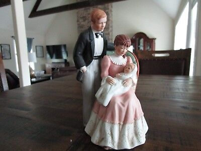 Home Interior Victorian Dad and Mom looking at New Baby Figurine