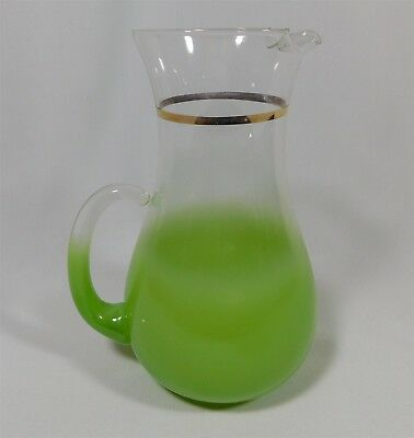 Vintage West Virginia Blendo Frosted Lime Green Pitcher Small 7.5""