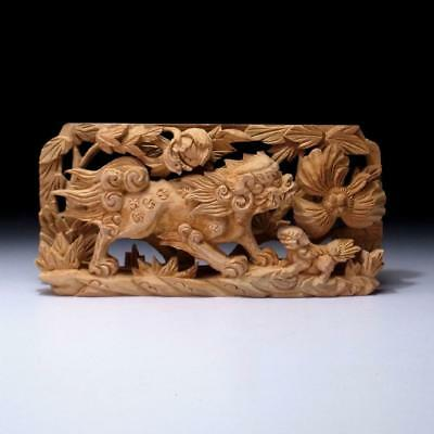 GN9: Japanese Small Hand Carved Wood Sculpture, Buddhist alter, Ranma, Fu Lion