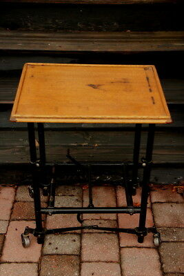 ca 1910 - 1930's Solid Oak Typewriting Table w/ Metal Rolling Stand