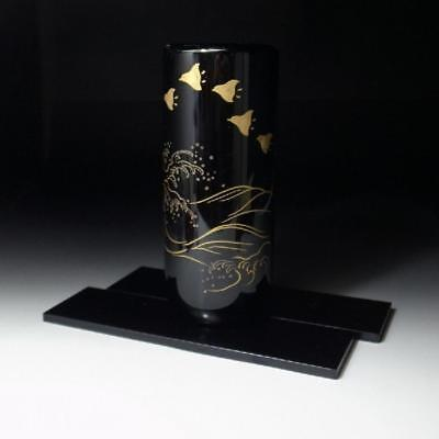 EC1: Japanese wooden vase, WAJIMA lacquer ware, Gold MAKIE, with Wooden Stand