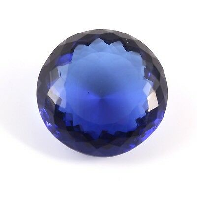 45.20 Cts Blue Oval Shaped Man Mad Glass Loose Gemstone Faceted Free Size