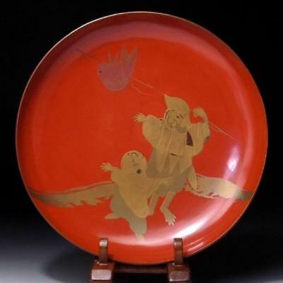 """DR6: Antique Japanese Lacquered wooden Large Sake Cup, MAKIE, 19C, Dia. 8.0"""""""