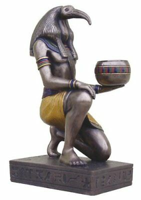 "6.25"" Egyptian Thoth Sculpture Figurine Ancient Egypt God Statue Candle Holder"