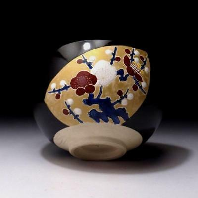 EF8: Vintage Japanese Hand-painted Pottery Tea Bowl, Kyo Ware, Plum tree