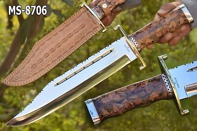 "18.0""ozair Custom Mirror Polish D2 Steel Confederate Bowie Knife Ms-8706"