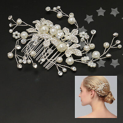 Pearl Bridal Flower Hair Comb Diamante Crystal Pearl Wedding Clip Slide Headband